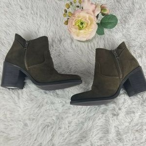 Steve Madden Womens Pierce Olive Green Ankle Boots